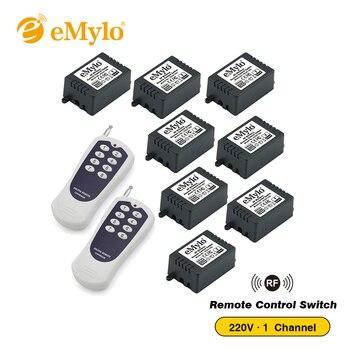 eMylo AC220V 1000W Momentary Switch Transmitter 8 X 1 Channel Relays  433Mhz RF Smart Wireless Remote Control Light Switch dc 24v smart rf wireless remote control light switch 433mhz inching push cover metal transmitter 2x 1 channel relay
