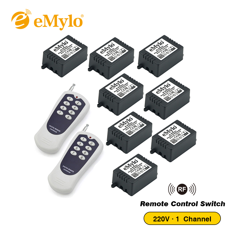 eMylo AC220V 1000W Momentary Switch Transmitter 8 X 1 Channel Relays 433Mhz RF Smart Wireless Remote Control Light Switch
