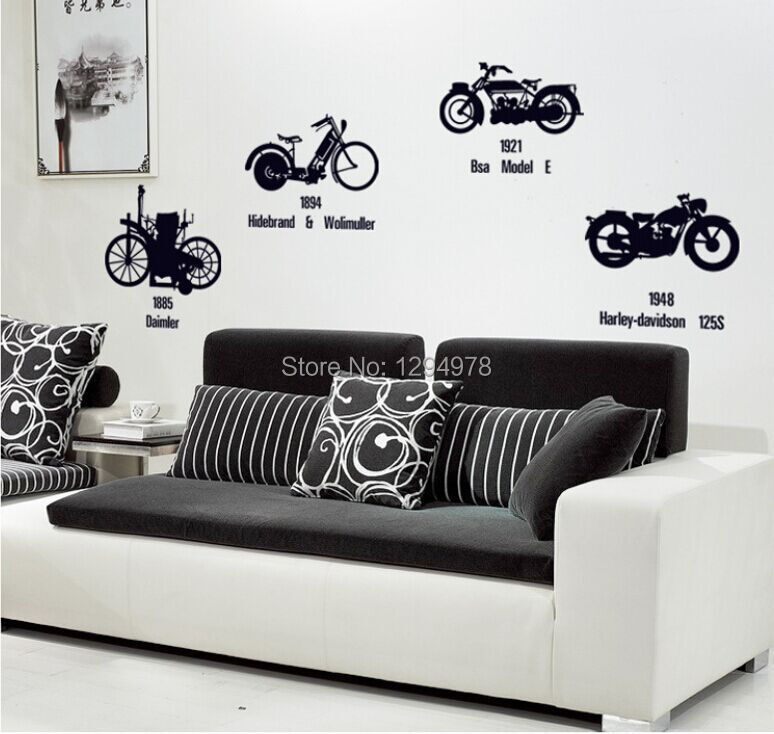 Creative Black Bicycle Motorcycle DIY Wall Stickers TV  : Creative Black Bicycle Motorcycle DIY Wall Stickers TV Sofa Background Entryway Corridor Mural Decal Home Decor from www.aliexpress.com size 774 x 734 jpeg 72kB