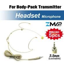 Бесплатная доставка 5 шт. головной конденсаторный микрофон гарнитуры для Sennheiser беспроводной body-обновления-передатчик 3.5 мм фиксирующий винт вилка