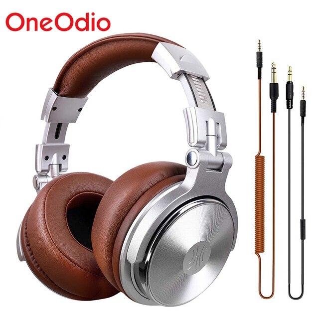 Oneodio estúdio profissional dj fones de ouvido com microfone sobre a orelha com fio monitores de alta fidelidade dobrável gaming headset para pc