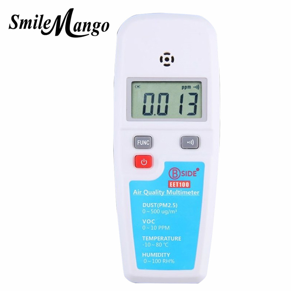 BSIDE EET100 7 in 1 VOC formaldehyde detector PM2.5 air quality monitoring tester dust haze Temperature Humidity Moisture Meter digital indoor air quality carbon dioxide meter temperature rh humidity twa stel display 99 points made in taiwan co2 monitor
