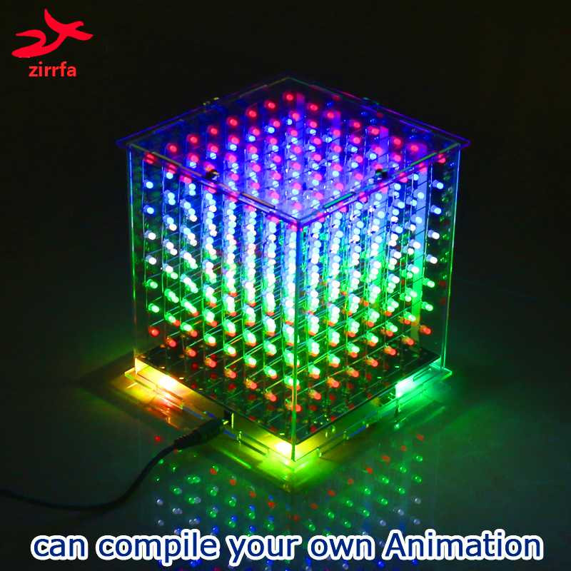 New 3D 8 8x8x8 multicolor led cubeeds diy kit kits electronicfor Ardino with excellent animations