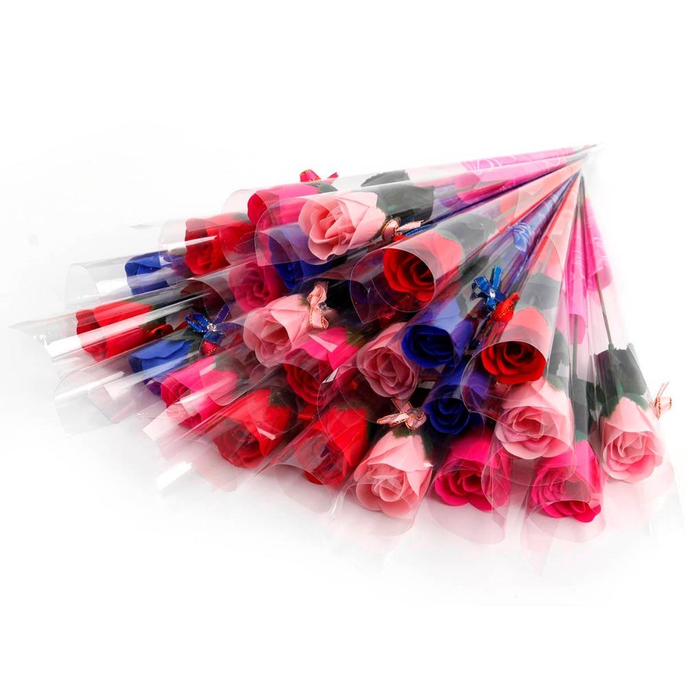 Savon de bain parfumé Rose savon fleur pétale avec boîte-cadeau pour mariage saint valentin fête des mères cadeau de fête des enseignants 30 pièces/ensemble