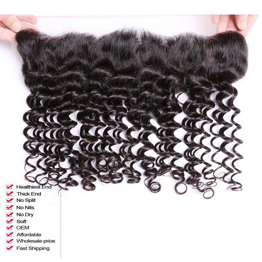 Queen 13x4 Lace Frontal Closure With Bundles Brazilian Virgin Hair Deep Wave With Closure 3 Bundles Human Hair With Lace Closure (2)