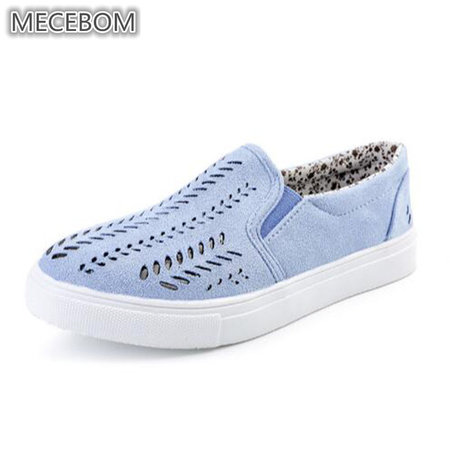 2018 Summer Beach Shallow Flat Heel Casual Solid Round Toe Hollow Canvas  Non slip Rubber Light