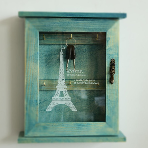 Home Decorators Key Wall Art ~ Retro blue wood key box french paris eiffel tower home