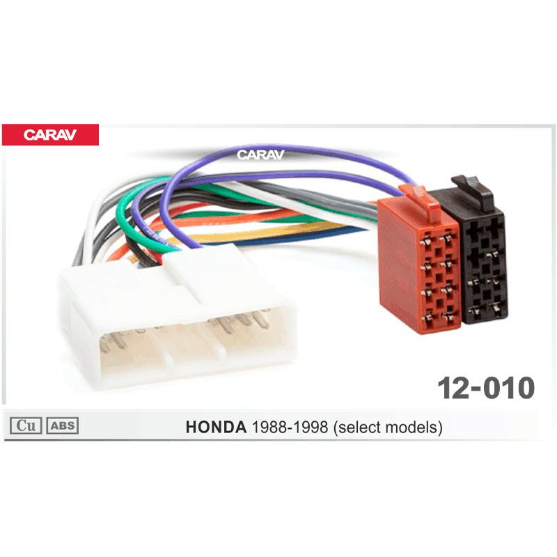 Carav12 010 Iso Radio Adapter For Honda 1988 1998  Select