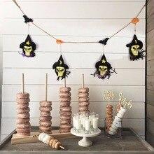 Sunbeauty Black Fabric Skull Garland Halloween Bunting with Bats Pumpkins DIY Decorations Wall Hanging Home Decoration