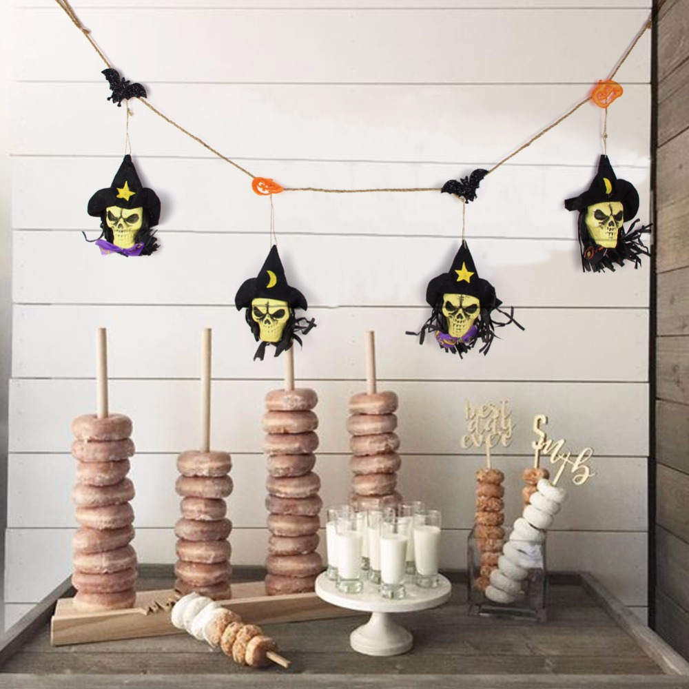 compare prices on diy halloween decorations online shopping buy sunbeauty black fabric skull garland halloween bunting with bats pumpkins diy halloween decorations wall hanging home