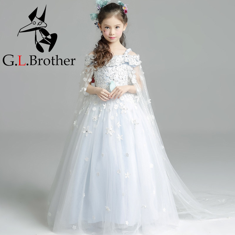 Luxury Ball Gown Princess Dress Off The Shoulder Flower Girls Dresses Wedding Small Tailling Kids Pageant Dress Birthday B52 цена 2017