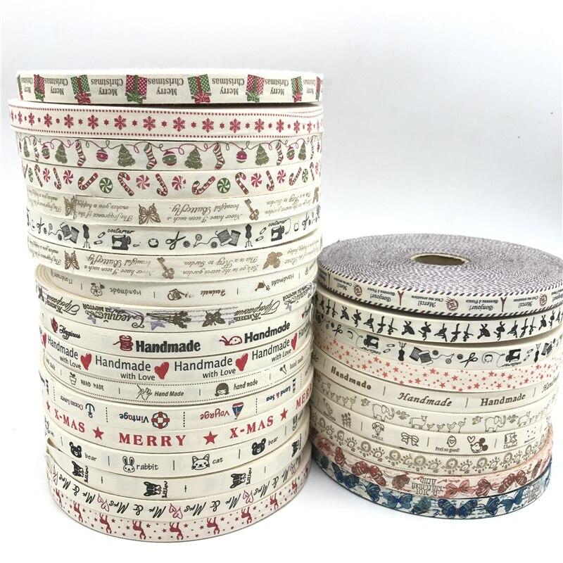 5 ярдов/партия 15 мм хлопок дизайн ленты ручной работы с принтом хлопковые ленты для свадьбы Рождественское украшение DIY Швейные Ткань