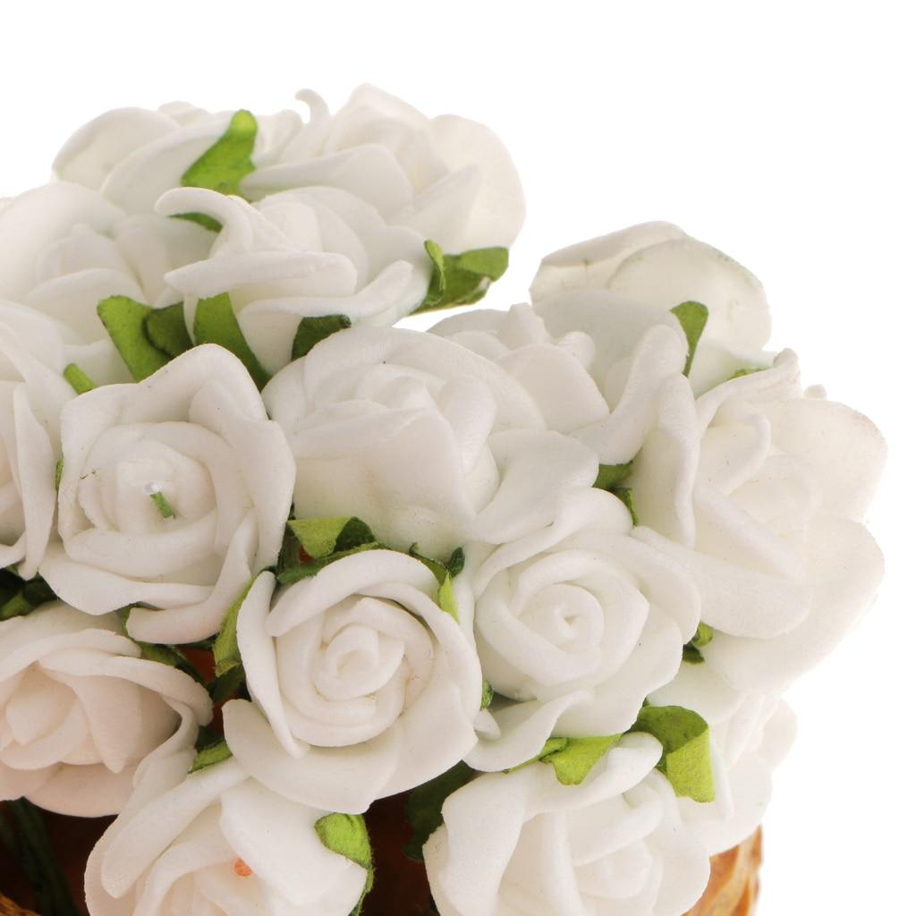 100Pcs Simulation Fake Mini Roses Flowers Bush Home Hair Band Decor Beige