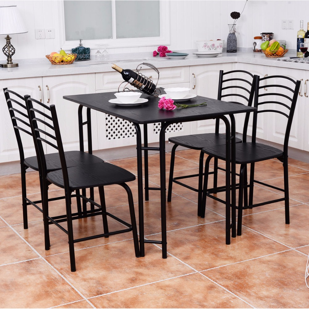 a4193cb249fb Goplus 5 PCS Black Dining Room Set Modern Wooden Dining Table with 4 Dining  Chairs Steel Frame Home Kitchen Furniture HW54791