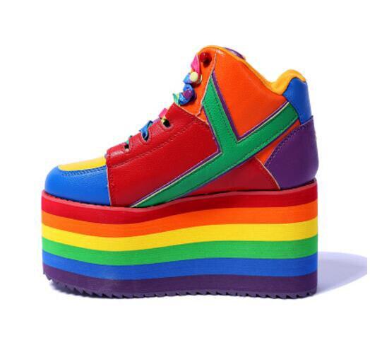 Date automne hiver dames plate-forme chaussures arc-en-ciel rayures 10 cm compensées baskets à lacets hauteur augmenter les bottines pour les filles