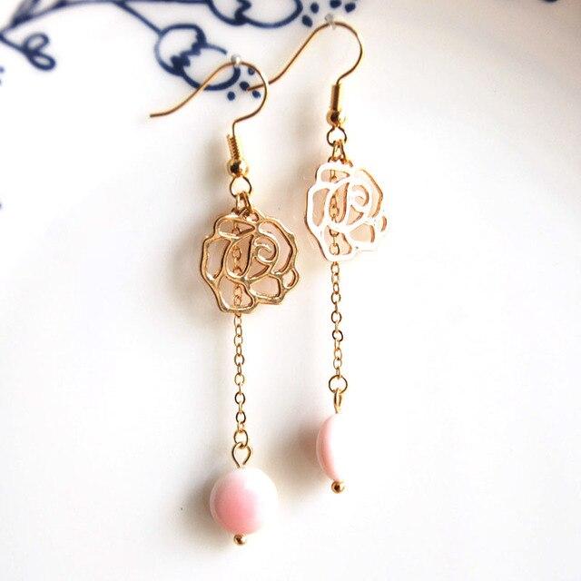 Gold Fashion Jewelry 2018 Drop Dangle Earrings Handmade Designer Earring Rose Pink Queen Conch For Women