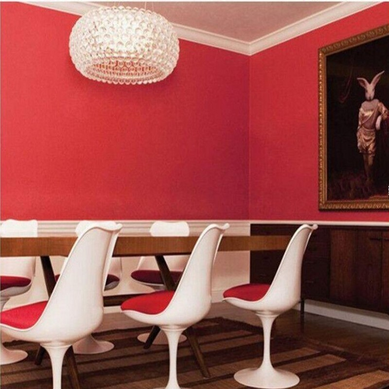 Beibehang Papel Parederoll Nostalgic Vintage Wall Paper Classic Red Solid  Color Wallpapers Roll Vinyl Wallpaper Contact Paper