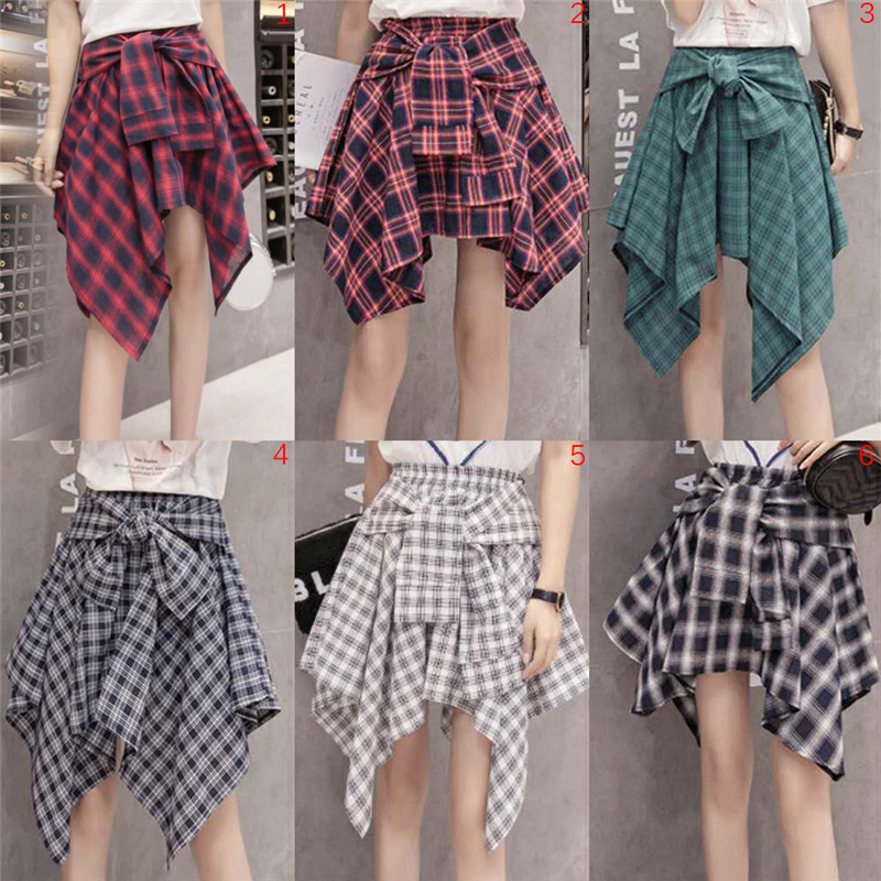 Velishy Asymmetrical Plaid Skirt Vintage High Waist Pocket Bow Belt Sexy Skirt Lace-Up Elastic High Waist Beach Skirt