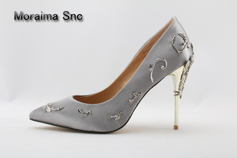 Moraima Snc brand pumps sliver ladies shoes metal flower high heels pumps shoes women strange style gilrs pumps zapatos mujer