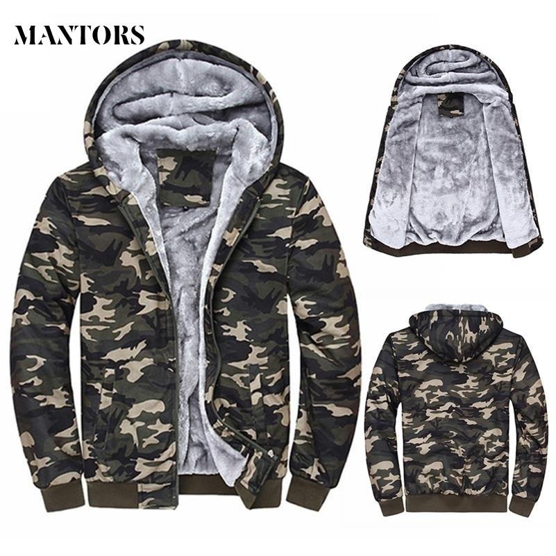 2019 Winter Men Hooded Jackets Casual Sweatshirts Camouflage Men's Sportswear Hoodies Fleece Camo Warm Thick Moletom Masculino