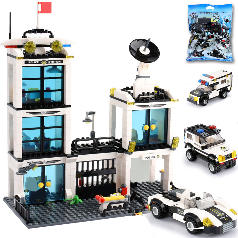 818PCS SWAT City Police Station Building Blocks Policeman Figures Children DIY Cars Brick Toy
