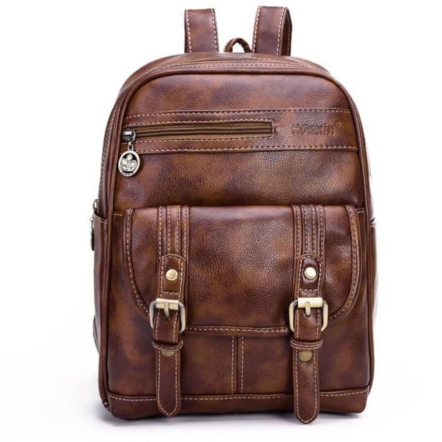 Vintage Women Leather Backpack Fashion Large Black Rucksack Teenage Girls Brown Backpacks Shoulder Bags mochila sac a dos XA468H