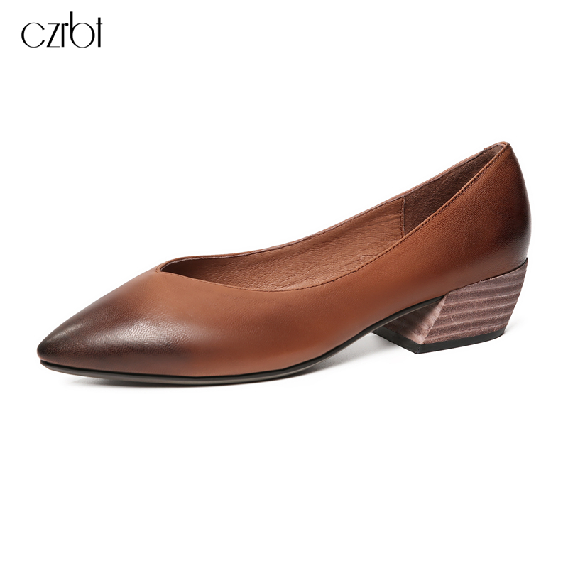 CZRBT Genuine Leather Women Pumps New Retro Pointed Toe High Heels Women Spring Autumn Shallow Mouth Cow Leather High Heel Shoes 2018 spring summer new women s pumps scrub sheepskin flowers rhinestone coarse high heel shallow mouth craft shoes
