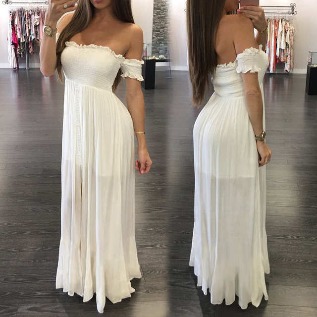 bb17c7cadc4 Online Shop Fashion Women Dress Summer Off Shoulder Sundress Bohemian Style  Long Dress Formal Dress Holiday Beach Dresses Sexy Solid Clothes