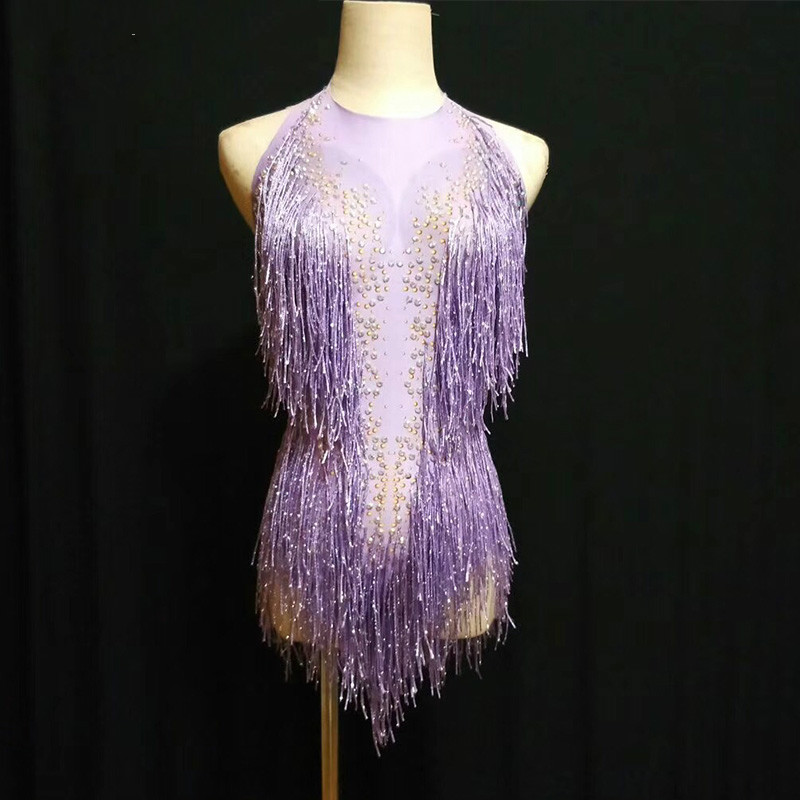 Sexy Purple Red Fringes Rhinestones Bodysuit Dance Show One piece Sexy Costume Women s Performance Leotard