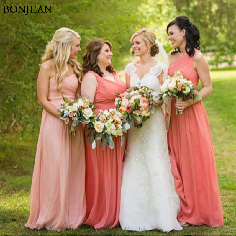 Simple A-Line   Bridesmaid     Dress   Sleeveless Pleat Formal   Dress   Chiffion Sleeveless Long   Bridesmaid     Dresses   Plus Size Custom Made
