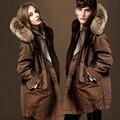 Homens e Mulheres Inverno Quente Parkas com Big Raccoon Dog Fur colarinho Interno é Velo Casacos de Inverno Quente para Os Amantes Plus Size S-5XL