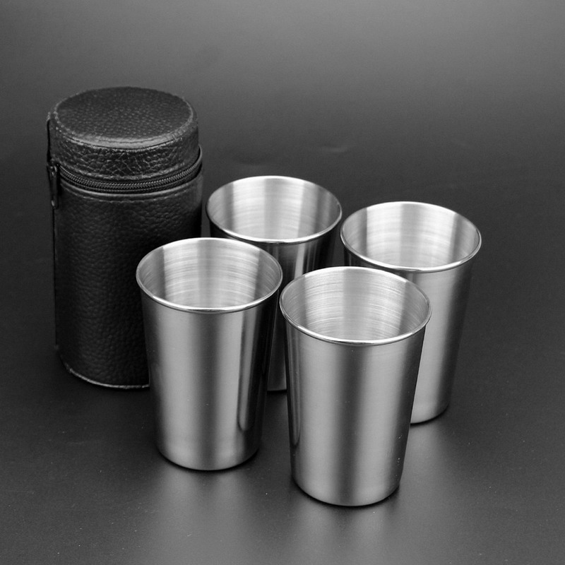 4 PC 180ml <font><b>Stainless</b></font> <font><b>Steel</b></font> Camping <font><b>Cup</b></font> <font><b>Mug</b></font> Outdoor Camping Hiking Folding <font><b>Portable</b></font> Tea Coffee Beer <font><b>Cup</b></font> With Black Bag VEO76 T30