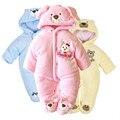 V-TREE monos mamelucos del bebé de invierno gruesa lana de Conejo niños, niña, niño invierno ropa del desgaste de la nieve traje del bebé ropa de recién nacido
