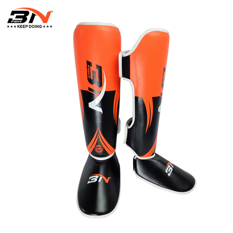 2017 New One Pair Boxing Shin Guards High Quality PU Leather Ankle Protector MMA Muay Thai Training Leg Warmers Strong Shin Pads martial arts