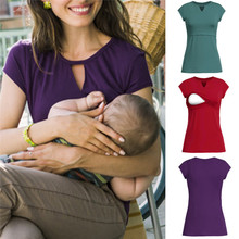 Breast-feeding Clothes for Female Hollow O-Neck Women Solid Pregnant Nursing Baby for Maternity Multifunctionl Blouse T-Shirt
