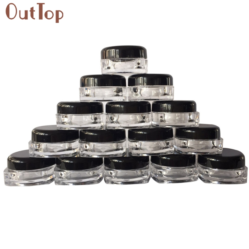 Drop Ship New 50Pcs Clear Cosmetic Sample Empty Container Jar Pot Eyeshadow Makeup Cream Lip Balm Plastic Small Tiny Bottles 5ml 50pcs 5g colorfull cream jar empty plastic cosmetic container clear jar small sample makeup sub bottling nail powder case