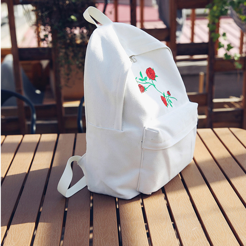 e078be7dd0 TANGIMP Harajuku Rose Embroidery Backpack White Black Women Travel Backpack  Students Canvas Double Shoulder Bag Mochila-in Backpacks from Luggage    Bags on ...