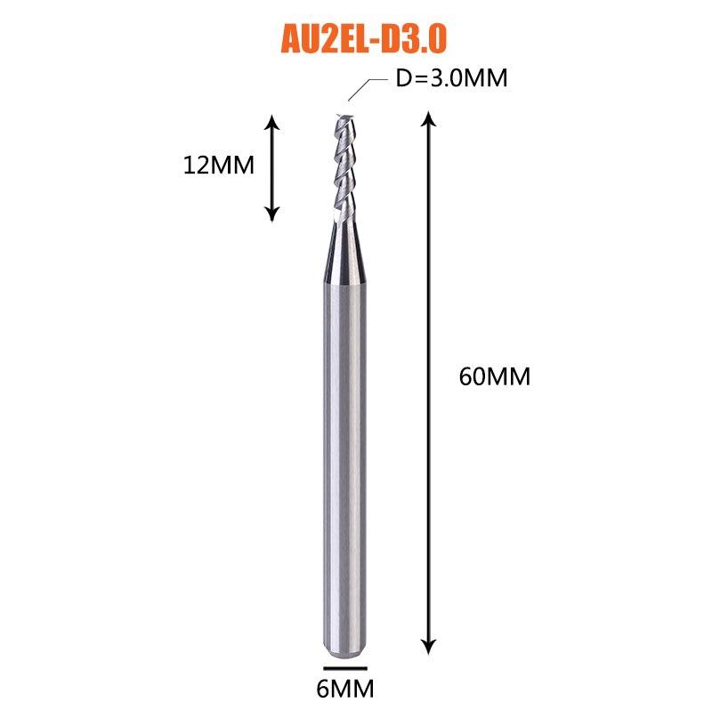 1 pc 3 флейты фрезы вольфрамового сплава концом ЧПУ фреза алюминий фреза для алюминия и деревообрабатывающие - Длина режущей кромки: 1PC-AU2EL-D3.0-H6