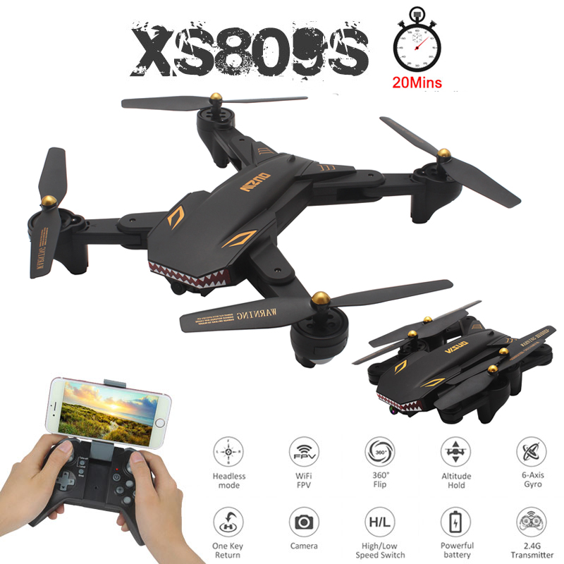 VISUO XS809S 2MP Profissional Dobrável Selfie Mini Drone com Câmera HD Wi-fi FPV Grande Angular XS809HW Quadcopter RC Helicóptero de Brinquedo