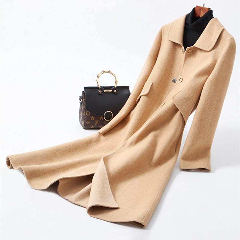 Double-face flanelle de laine sergé tissé femmes de mode élégant long manteau poupée col mince style chameau L'UE/S-2XL en gros au détail