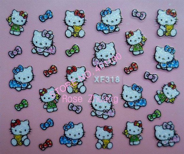 Freeshipping-NEW 3D nail sticker Decal Hello Kitty designs  Nail Stickers Nail Art Decoration Wholesales