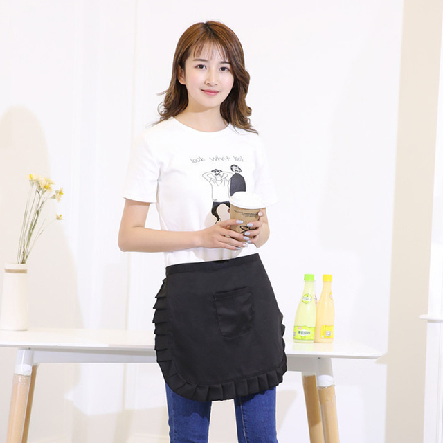 New Black Lovely Women Lace Bib A With Pockets Chief Waitress Cooking Clothes S Kitchen