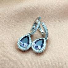 Elegant Water Drop Earings Fashion 925 Silver Purple CZ Zircon Crystal Earrings for Women Wedding Statement Brincos Jewelry