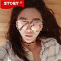 Story luxo big liga quadro óculos de sol 2016 new moda mulheres twin-vigas espelho óculos de sol eyeware oculos de sol femininol