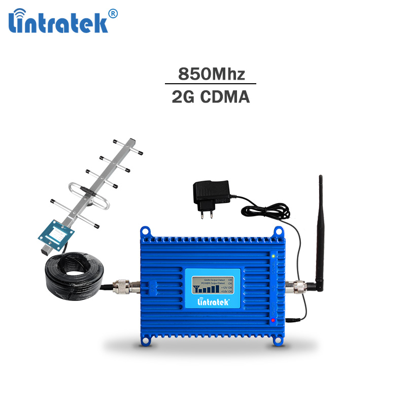 Lintratek CDMA 850MHZ Repeater 2G 3G 850MHz Band 5 Mobile Phone Signal Booster Amplifier AGC 70dB 20dBm Powerful Amplificador