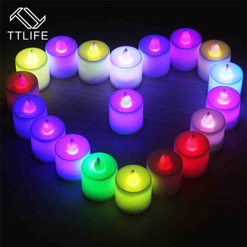 TTLIFE 24pcs Color Changing Flickering Candles Light Use Battery Led Flameless lights Home Romantic proposal electronic candle