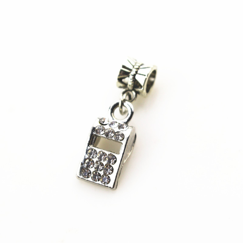 20pcs/lot crystal whistle charms hanging charm big hole pendant beads charm fit pando bracelet diy jewelry dangle charms