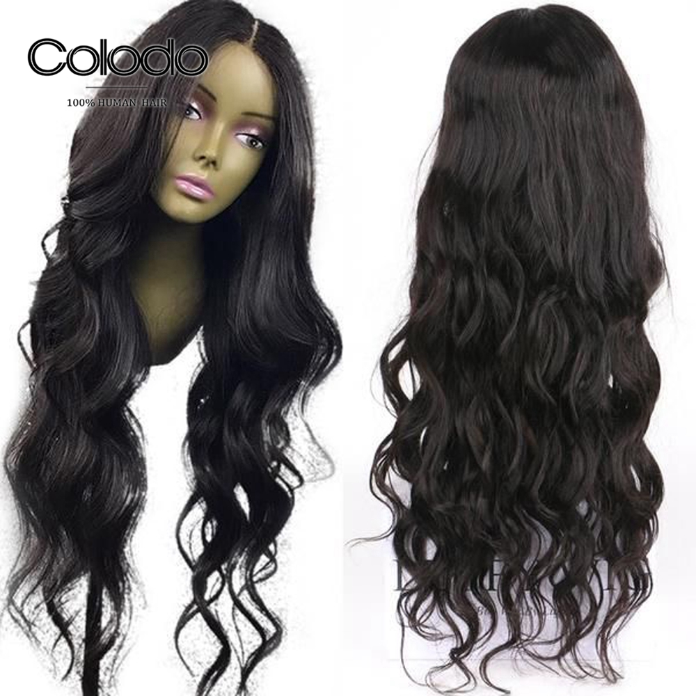 COLODO Body Wave Full Lace Human Hair Wigs For Black Women Pre Plucked Brazilian Remy Hair