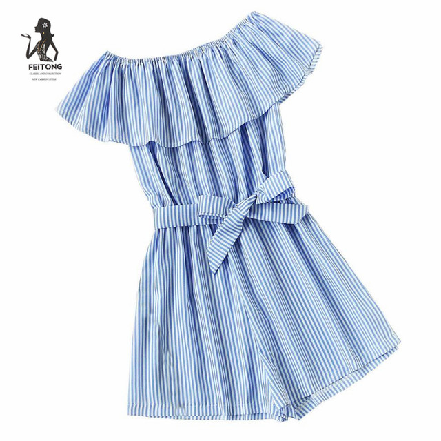 d4b993640a7 Jumpsuits for women 2017 new arrival Striped Nylon rompers women jumpsuit  shorts pius size One word shoulder playsuit women LRSO