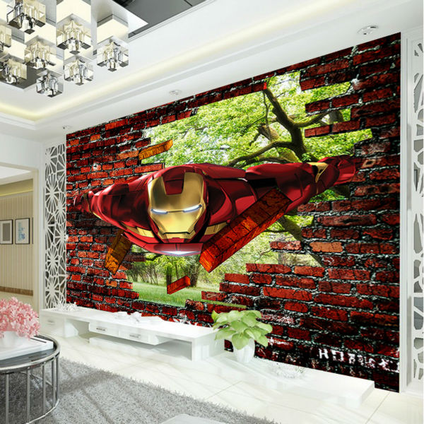 3D Iron Man Wallpaper Avengers Photo Wallpaper Custom Wall Murals Kids Boys  Bedroom Decor Superhero Movie Interior Design Trees In Wallpapers From Home  ...